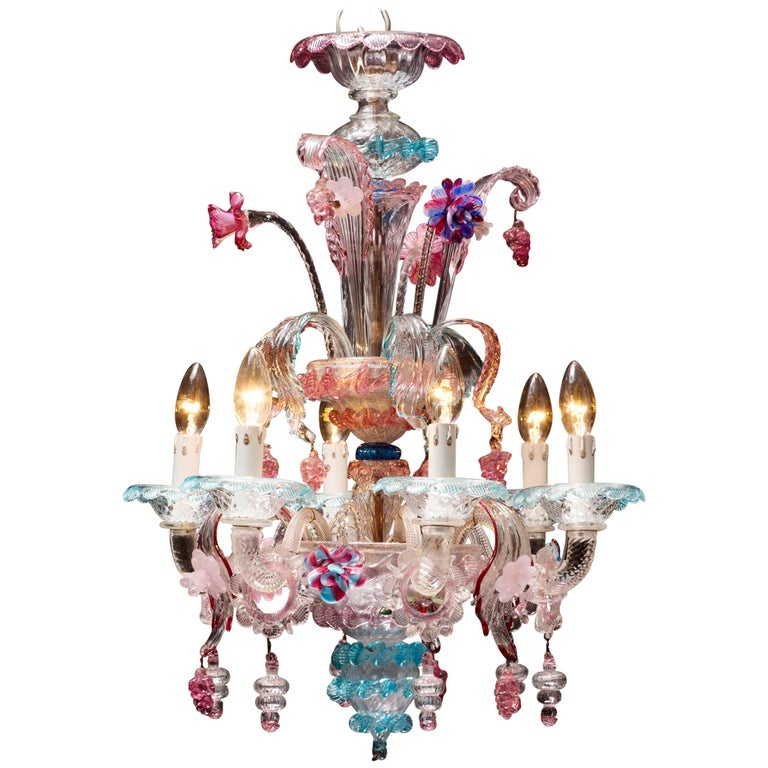Antique Italian Venetian Chandelier with Colored Murano Glass For Sale - Antique Italian Venetian Chandelier With Colored Murano Glass At 1stdibs