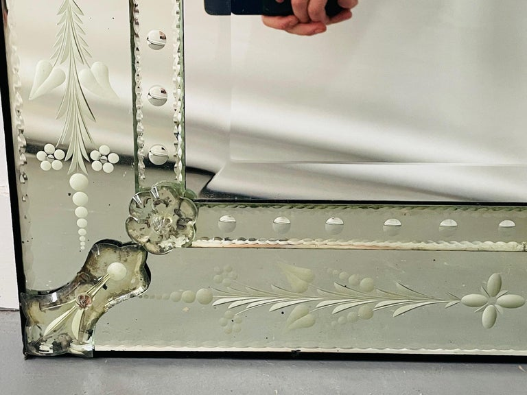 Antique Italian Venetian Etched Glass Mirror For Sale 5