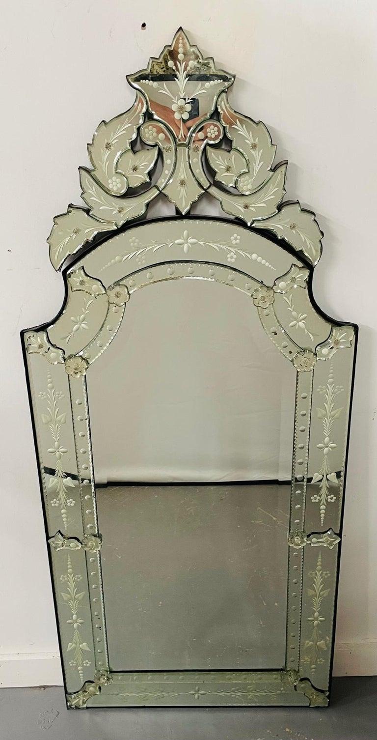 Rococo Antique Italian Venetian Etched Glass Mirror For Sale