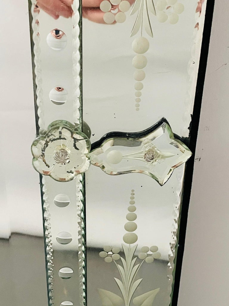 Antique Italian Venetian Etched Glass Mirror For Sale 4