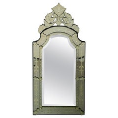 Antique Italian Venetian Etched Glass Mirror