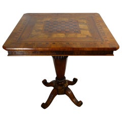 19th Century Italian Venetian Louis XVI Walnut Burl Inlaid Veneer Game Table