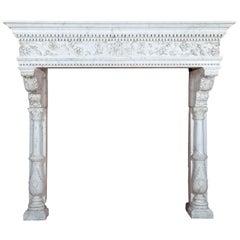 Antique Italian Venetian Renaissance Marble Mantel