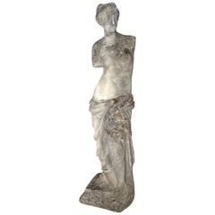 Antique Italian Venus de Milo Grisaglia Stone Statuary from Lake Como circa 1890