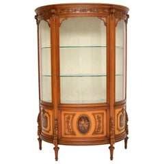 Antique Italian Walnut Display Cabinet