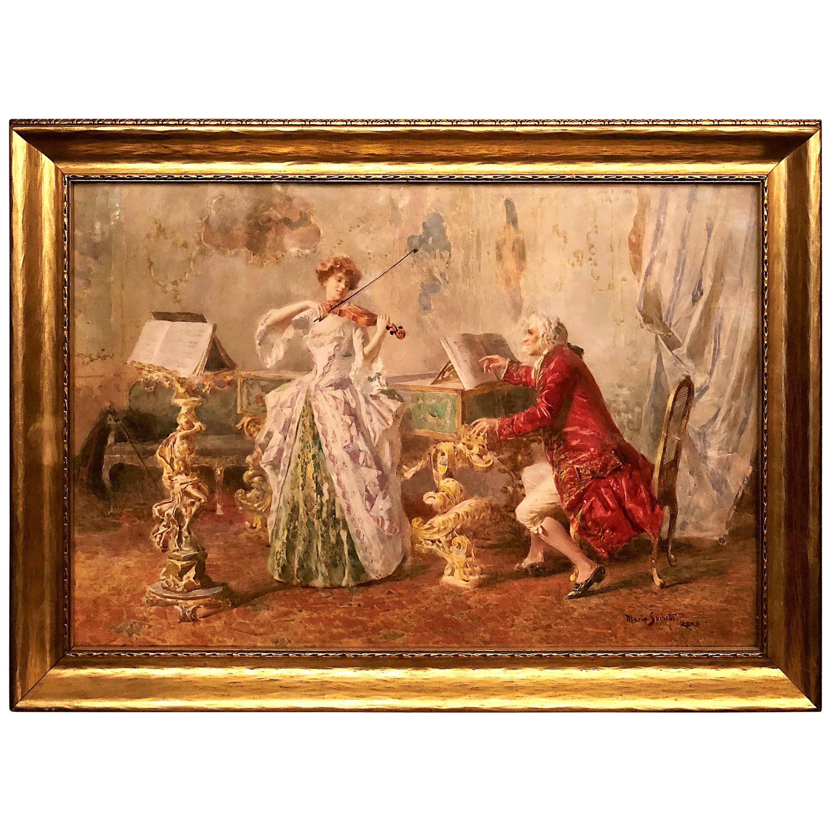 Antique Italian Watercolor Painting Signed by Mario Spinetti, 1848-1925