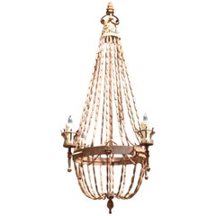 Antique Italian Wooden Beaded Four-Light Chandelier