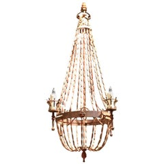 Antique Italian Wooden Beaded Four-Light Chandelier