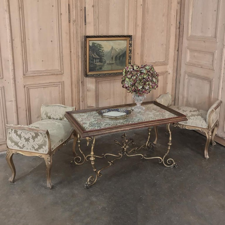 Antique Italian Wrought Iron And Glass Top Coffee Table At 1stdibs