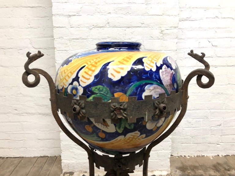 Hand-Painted Antique Italian Wrought Iron Planter with Hand Painted Majolica Vase For Sale