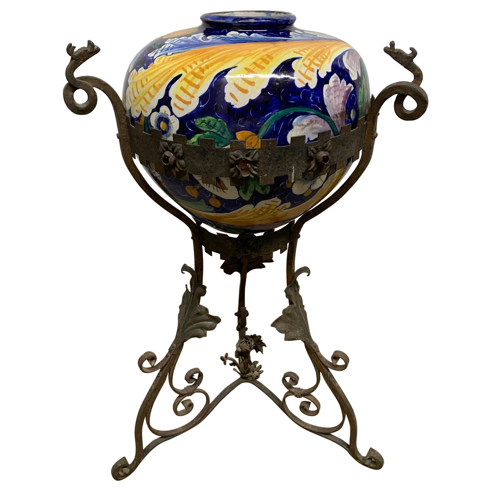 Antique Italian Wrought Iron Planter with Hand Painted Majolica Vase
