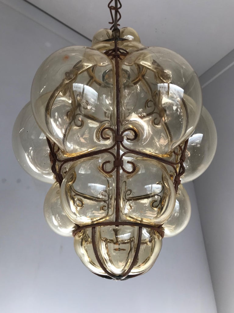 Antique Italy Venetian Murano Pendant Light Mouthblown Smoking Glass in Frame For Sale 3