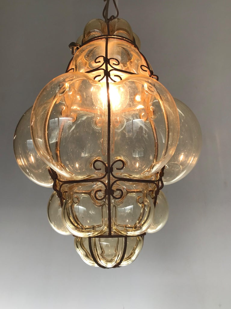 Antique Italy Venetian Murano Pendant Light Mouthblown Smoking Glass in Frame For Sale 4