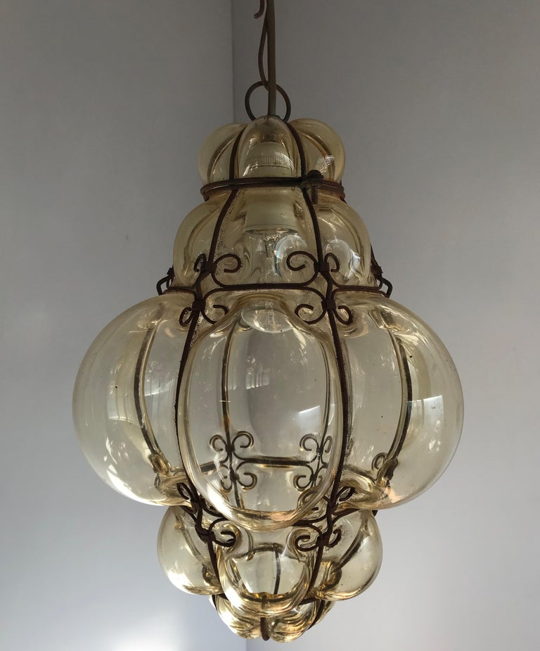 Antique Italy Venetian Murano Pendant Light Mouthblown Smoking Glass in Frame For Sale 5
