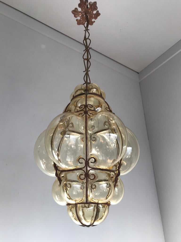 Antique Italy Venetian Murano Pendant Light Mouthblown Smoking Glass in Frame For Sale 7