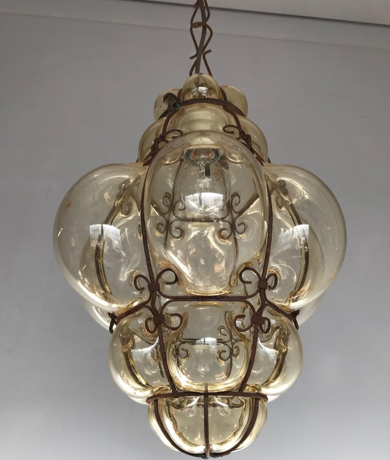 Antique Italy Venetian Murano Pendant Light Mouthblown Smoking Glass in Frame For Sale 11
