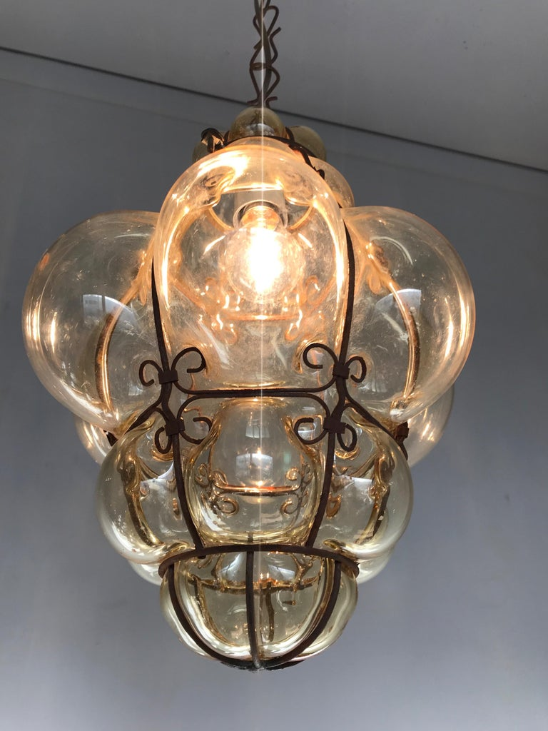 Antique Italy Venetian Murano Pendant Light Mouthblown Smoking Glass in Frame For Sale 12