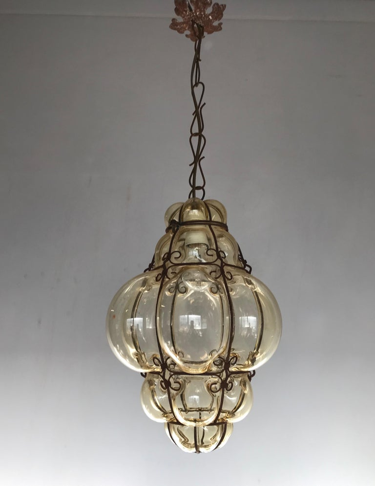 20th Century Antique Italy Venetian Murano Pendant Light Mouthblown Smoking Glass in Frame For Sale
