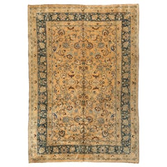 Antique Ivory and Navy Blue Persian Mashad Rug, circa 1940s