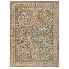 Antique Ivory Background Blue Flower Medallion Persian Tabriz Wool Rug