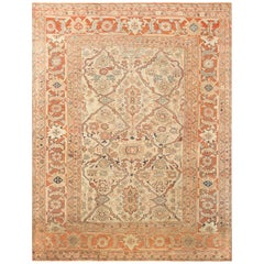 Antique Ivory Background Persian Sultanabad Rug. Size: 8 ft 10 in x 12 ft