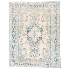 Antique Ivory and Blue Persian Lilian Rug, circa 1930s