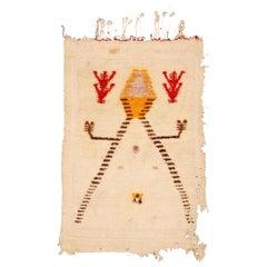 Antique Ivory Çeki Tulu Niche Design Anatolian Rug