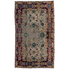 Antique Ivory Ground Indian Agra Rug with All-Over Pattern