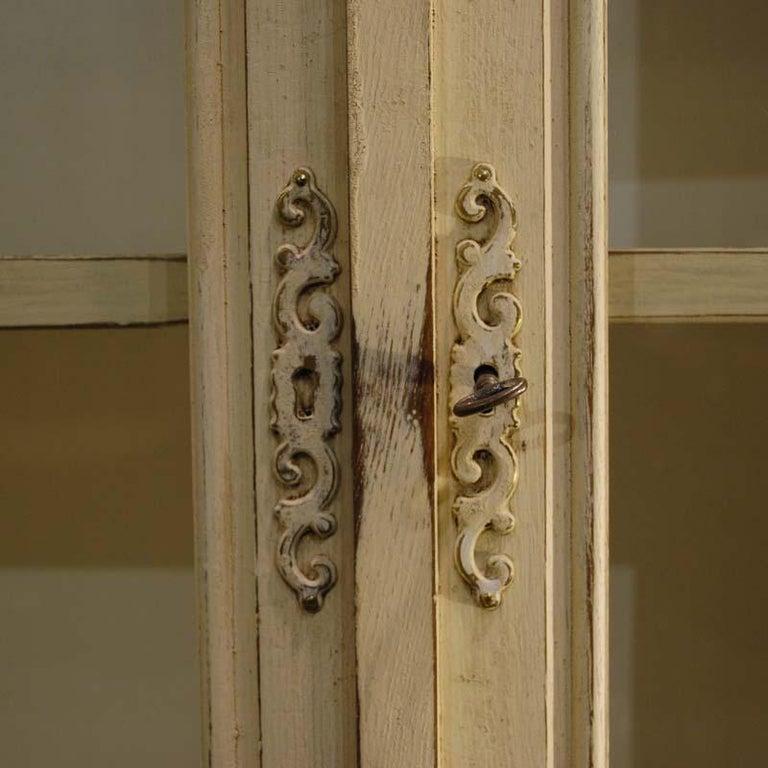 Ivory Glazed Kitchen Cabinets: Antique Ivory Painted Glazed Oak Cabinet Or Vitrine For