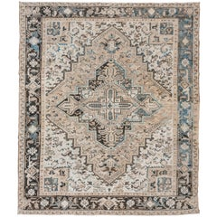 Antique Ivory Persian Heriz Rug, Ivory and Beige Field Dark Borders Blue Accents