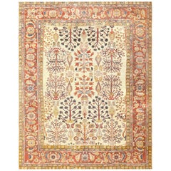 Antique Ivory Persian Sultanabad Rug. Size: 7 ft 9 in x 10 ft (2.36 m x 3.05 m)
