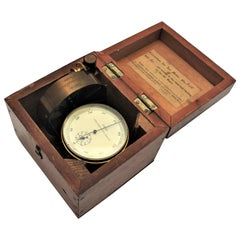 Antique J. Hicks London Brass Scientific Air Meter Instrument with Wooden Case