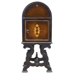Antique Jacobean Leather and Walnut Tobacco Humidor Cabinet Smoking Stand