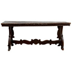 Antique Jacobean Style Carved Bench