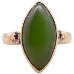 Antique Jade 14 Karat Gold Marquise Art Deco 5 Carat Cocktail Ring