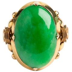 Antique Jade Cabochon Set Ring, 14 Karat Yellow Band, Wonderful Quality Stone