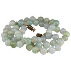 Antique Jade Necklace in Faint, Breathtaking Colors