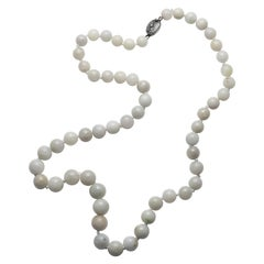 Antique Jade Necklace Like Marbles Made of Fog, Circa 1920s