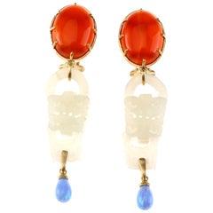 Antique Jade Opal 18 Karat Gold Earrings