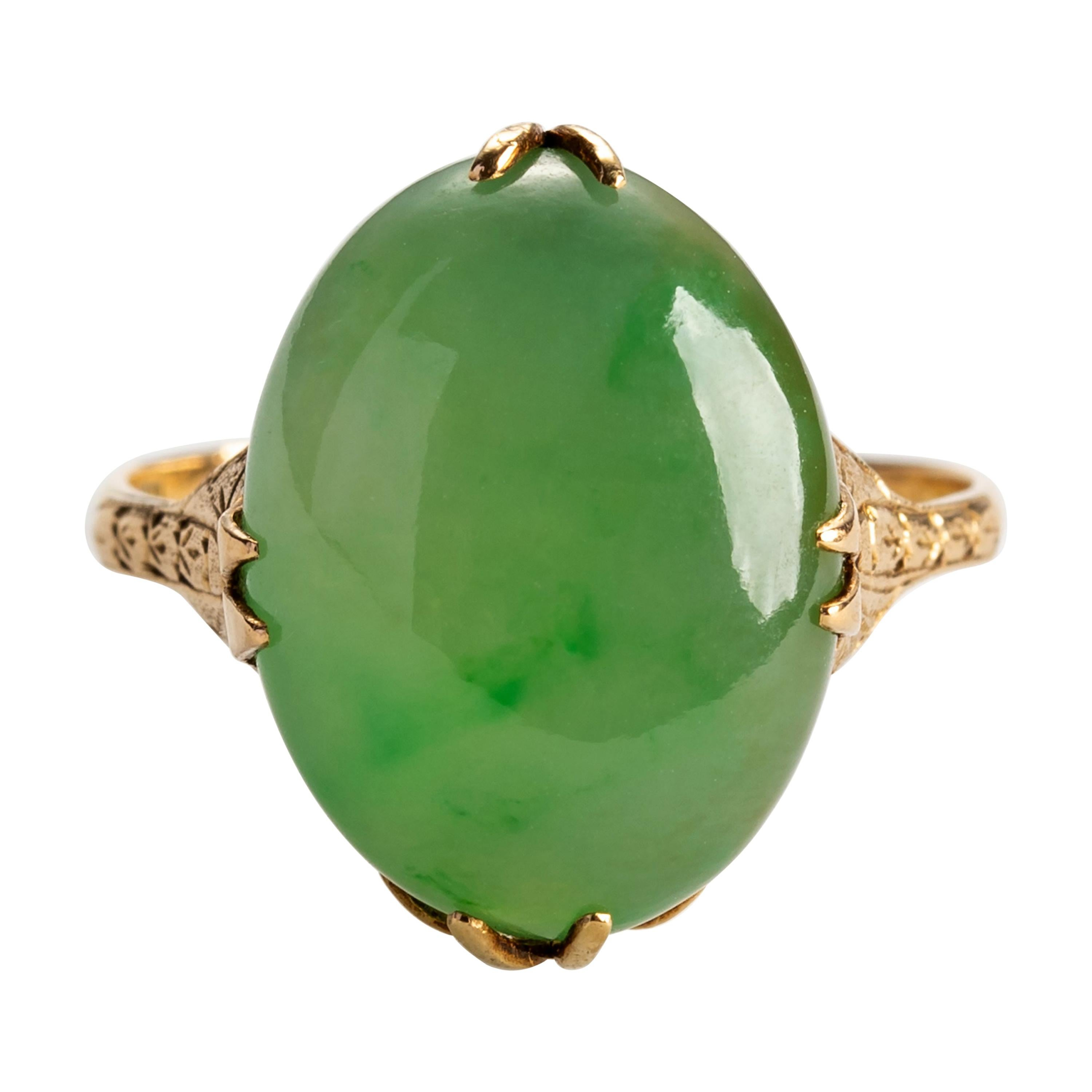 Antique Jade Ring Certified Untreated