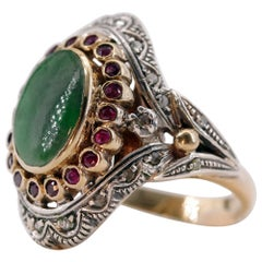 Antique Jade Ring with Rubies, Diamonds and a Soul