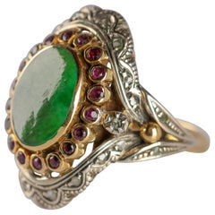 Antique Jade Ring with Rubies & Diamonds in Gold and Silver Eccentric and Ornate