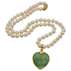 Antique Jade Yellow Gold Heart Pendant on Pearl Necklace