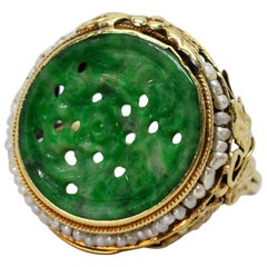 Antique Jade Yellow Gold Ring with Pearl Accents