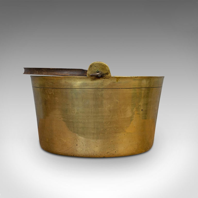 19th Century Antique Jam Pan, French, Solid Brass, Artisan Kitchen Pot, Victorian, circa 1900 For Sale