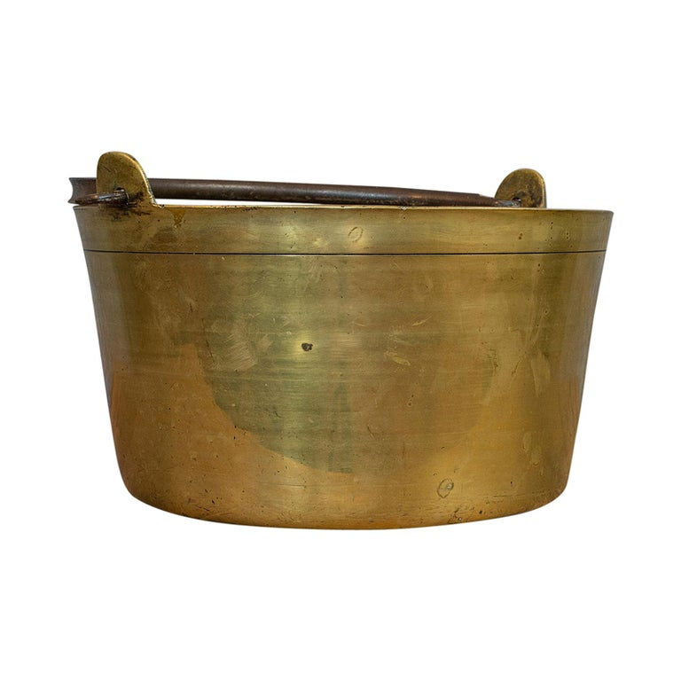 Antique Jam Pan, French, Solid Brass, Artisan Kitchen Pot, Victorian, circa 1900 For Sale