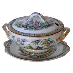 "Antique James Beech ""Pekin"" Staffordshire Sauce Tureen and Tray"