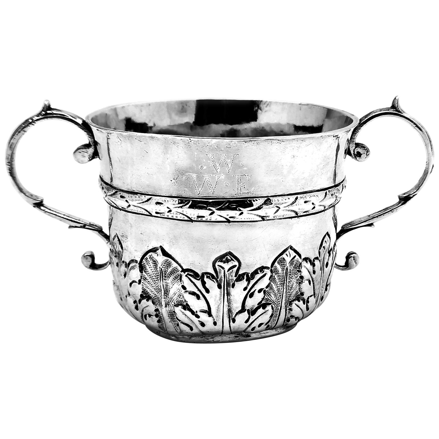 Antique James II Sterling Silver Porringer / Two Handled Cup 1687 17th Century