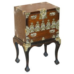 Antique Japanese 1880 Elm Side Table on Stand with Ornate Cast Brass Fixtures