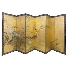 Antique Japanese 6 Panel Folding Screen, Meiji Period